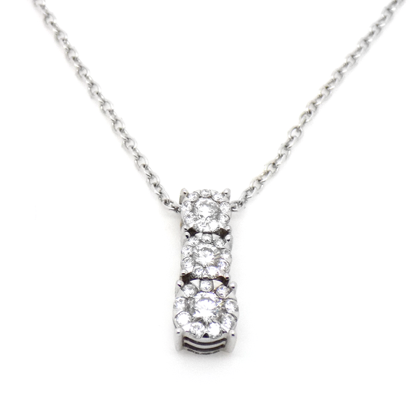 18ct White Gold Three Graduated Diamond Cluster Pendant & 9ct White Gold Chain