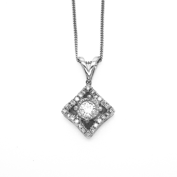 18ct White Gold Diamond Curved Square Shape Pendant & Chain