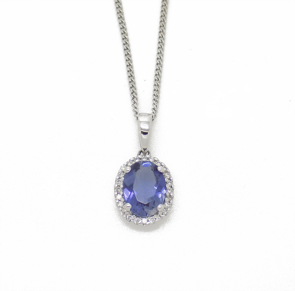 9ct White Gold Oval Lolite & Diamond Pendant with Chain