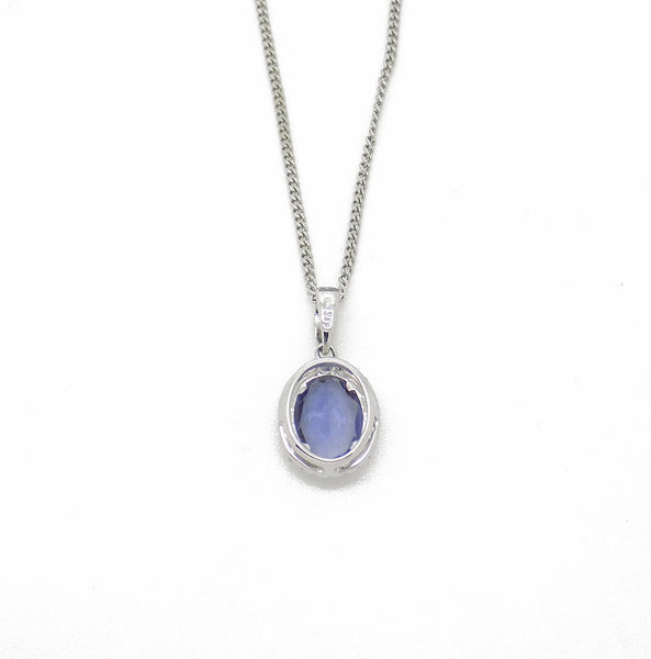 9ct White Gold Oval Lolite & Diamond Pendant with Chain Back Detail