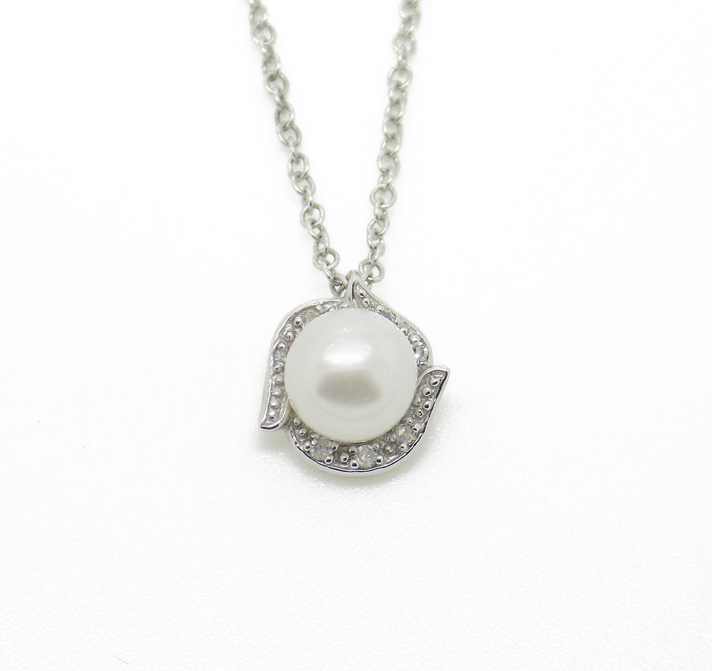 9ct White Gold Freshwater Pearl & Diamond Pendant with Chain