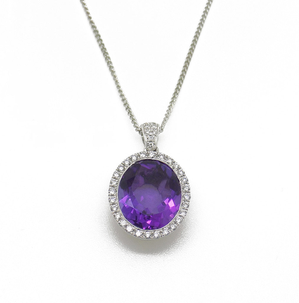 9ct White Gold Oval Amethyst & Diamond Cluster Pendant with Chain