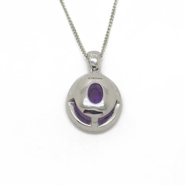 9ct White Gold Oval Amethyst & Diamond Cluster Pendant with Chain Back Detail