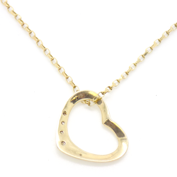 9ct Yellow Gold Diamond Heart Pendant Back