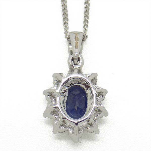 18ct White Gold Oval Sapphire & Round Diamond Cluster Pendant Reverse