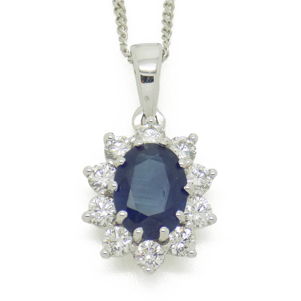 18ct White Gold Oval Sapphire & Round Diamond Cluster Pendant