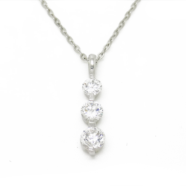 Sterling Silver Graduated Cubic Zirconia Drop Pendant & Chain