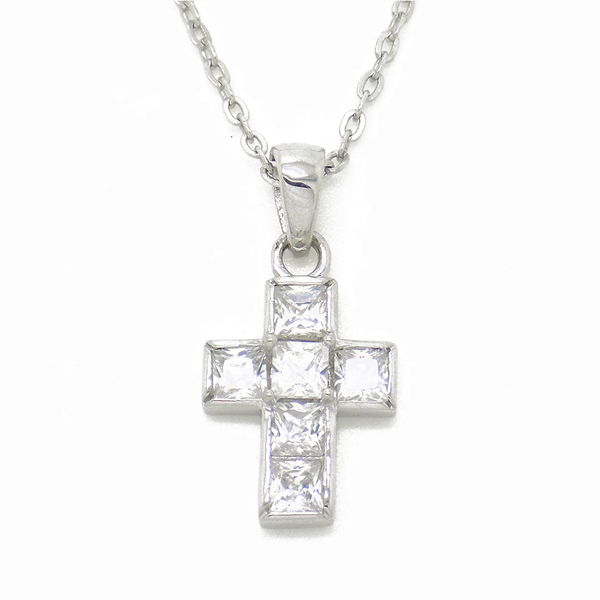 Sterling Silver Square Cubic Zirconia Cross Pendant & Chain