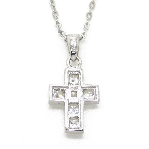 Sterling Silver Square Cubic Zirconia Cross Pendant & Chain Detail