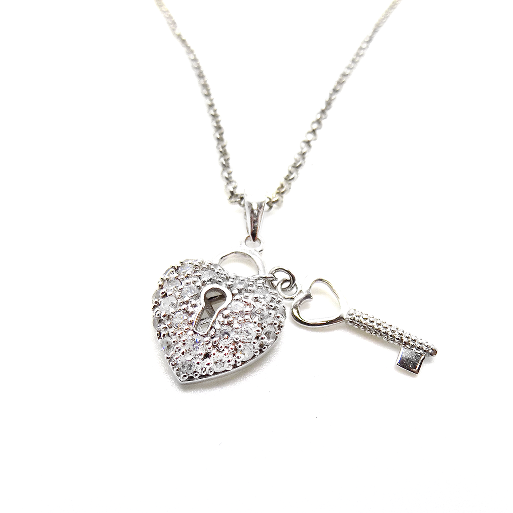 Sterling Silver & CZ Heart & Key Pendant with Chain