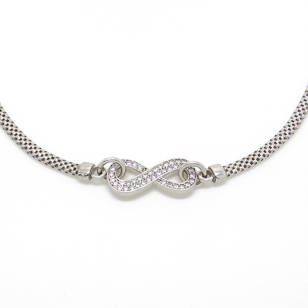 Sterling Silver Cubic Zirconia 'Infinity' Pendant & Mesh Link Chain