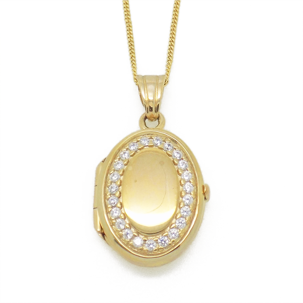 9ct Yellow Gold Cubic Zirconia Oval Locket Pendant & Chain