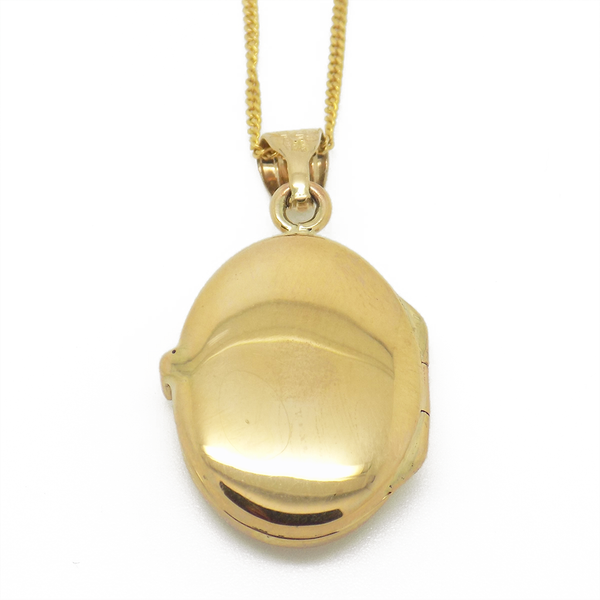 9ct Yellow Gold Cubic Zirconia Oval Locket Pendant & Chain Back Detail