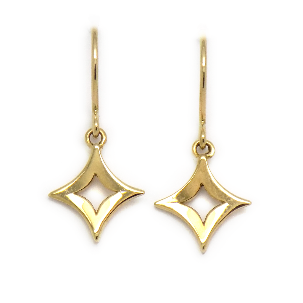 9ct Yellow Gold Diamond-Shape Drop Hook Earrings