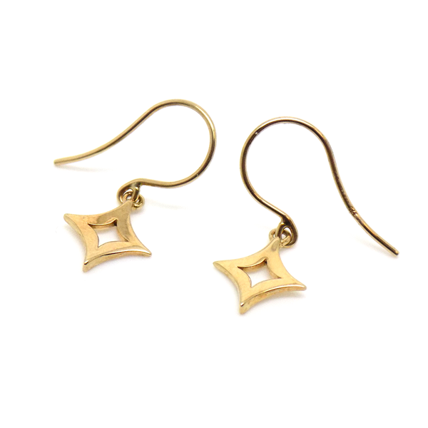 9ct Yellow Gold Diamond-Shape Drop Hook Earrings Hook Detail