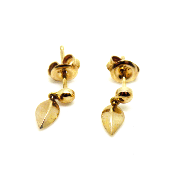 9ct Yellow Gold Leaf Short Drop Earrings