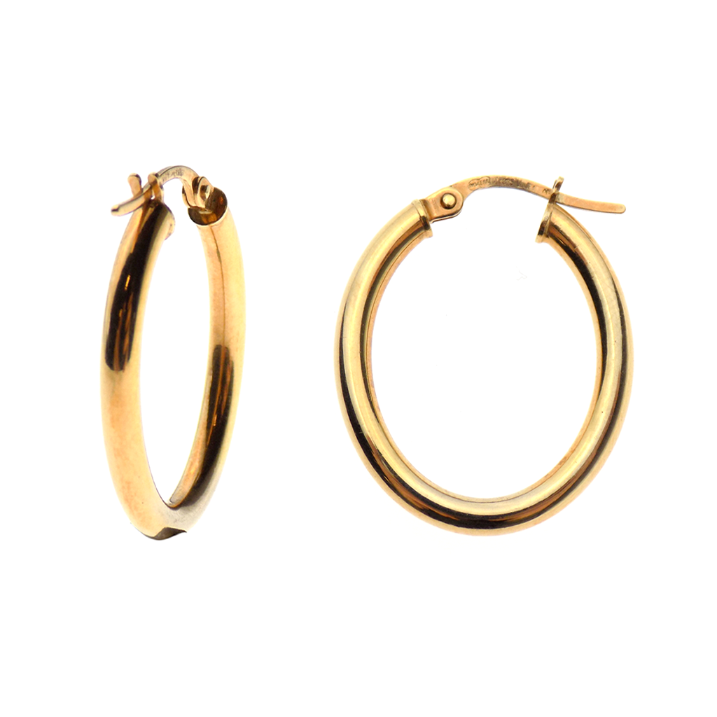9ct Yellow Gold Oval Hoop Earrings