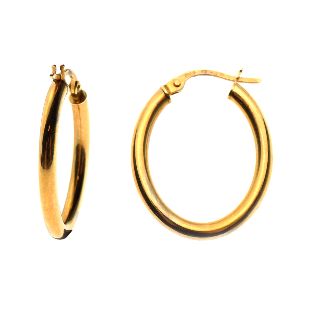 9ct Yellow Gold Oval Tube Hoop Earrings