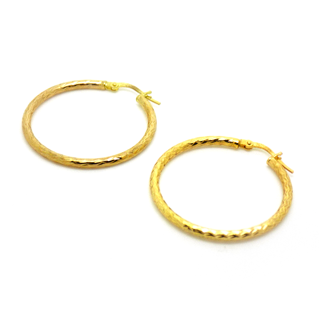 9ct Yellow Gold 29mm Diamond-Cut Hoop Earrings