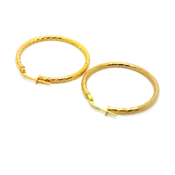 9ct Yellow Gold 29mm Diamond-Cut Hoop Earrings Reverse