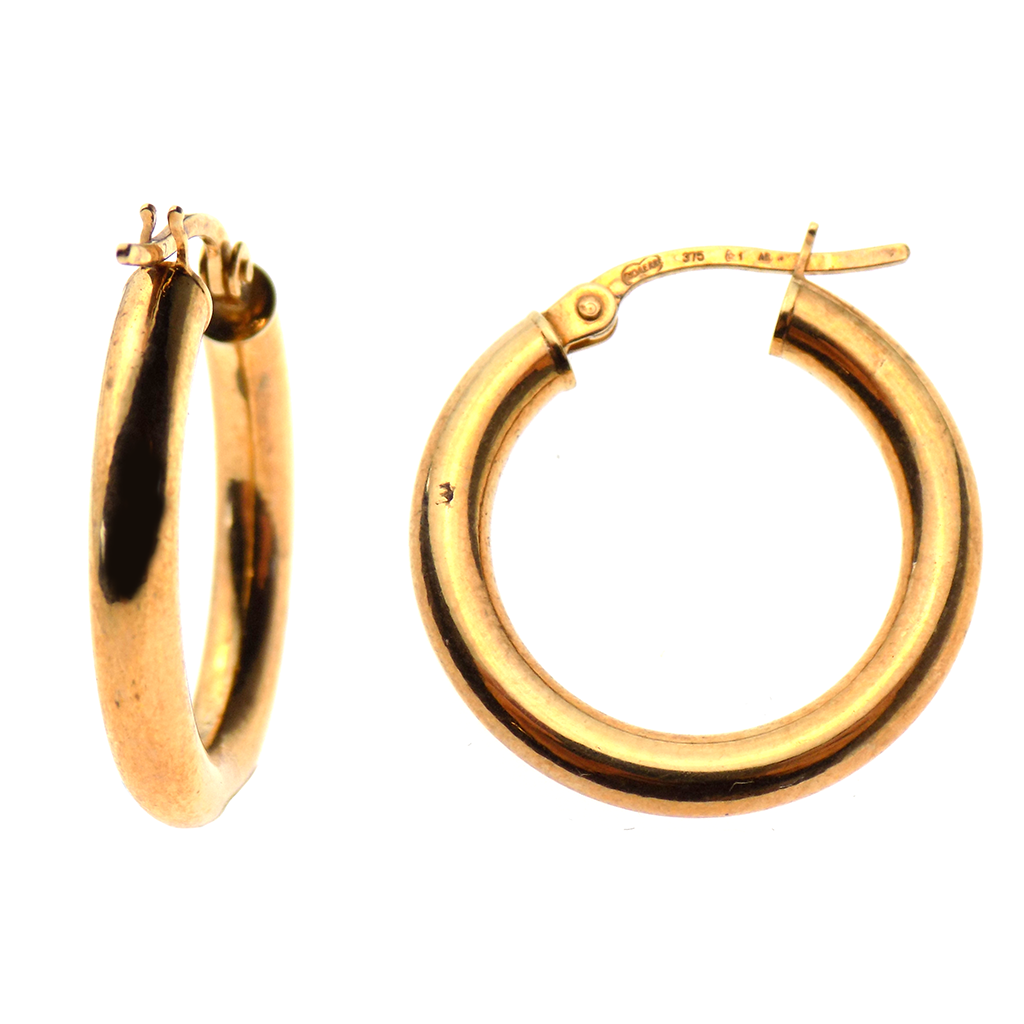 9ct Yellow Gold 20mm Round Polished Hoop Earrings