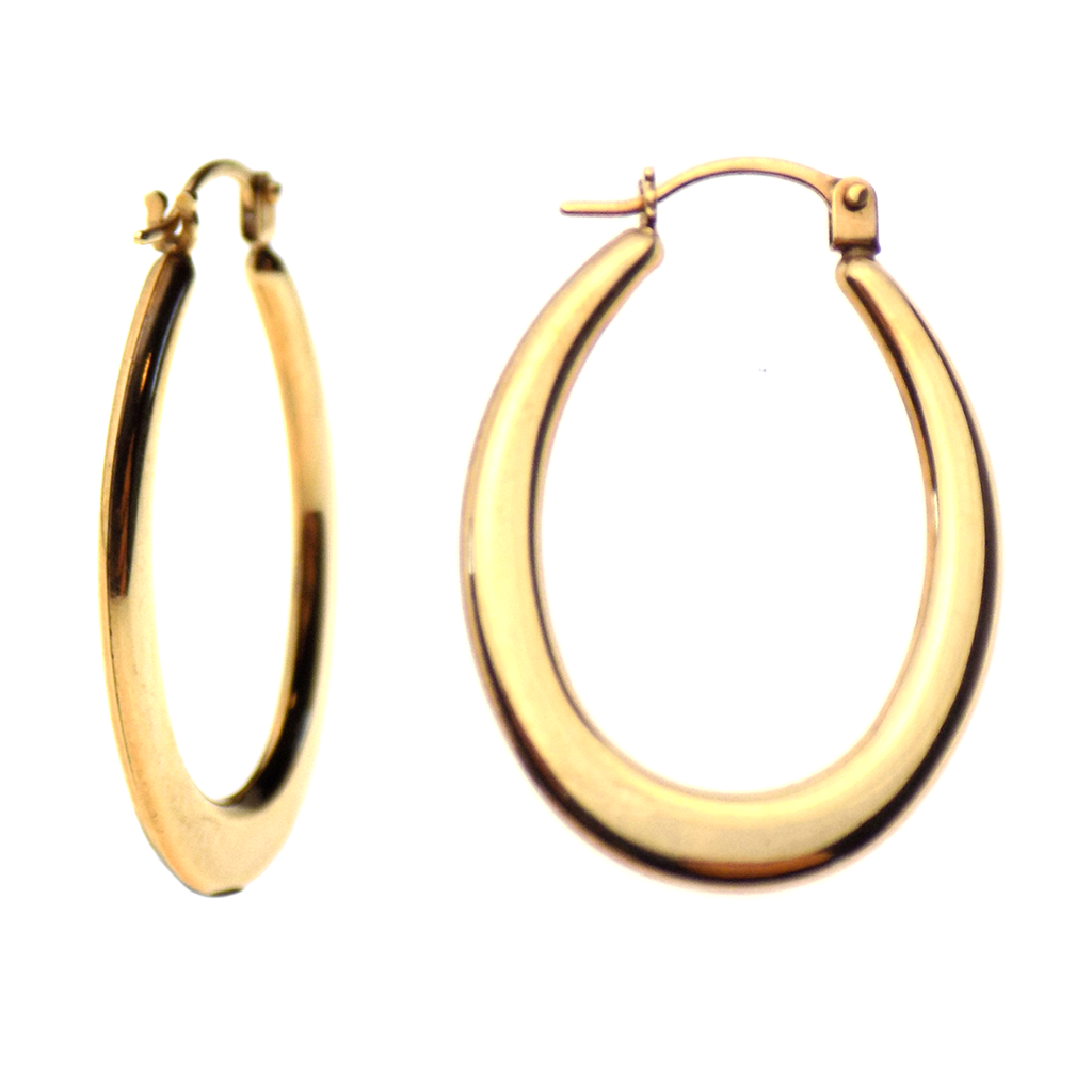 9ct Yellow Gold Flat Oval Polished Hoop Earrings