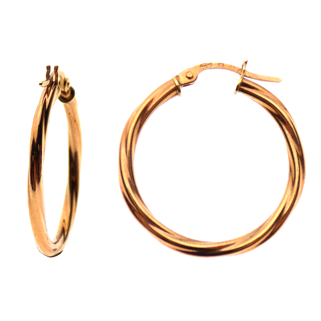 9ct Rose Gold Medium Twist Hoop Earrings