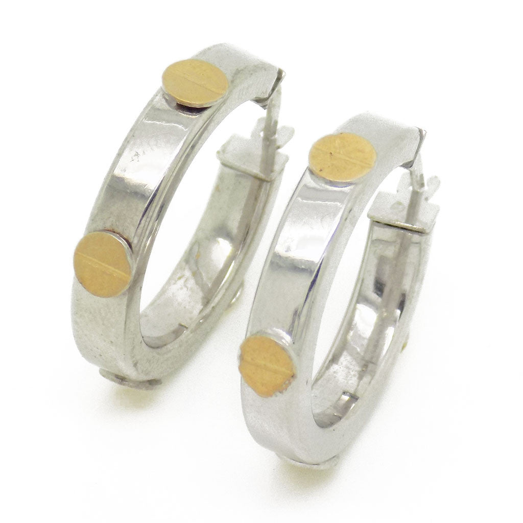 9ct White Gold 20mm Hoop Earrings with Yellow Gold Screw Details