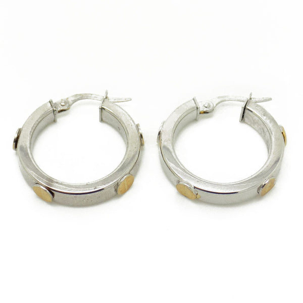9ct White Gold 20mm Hoop Earrings Fastening Details