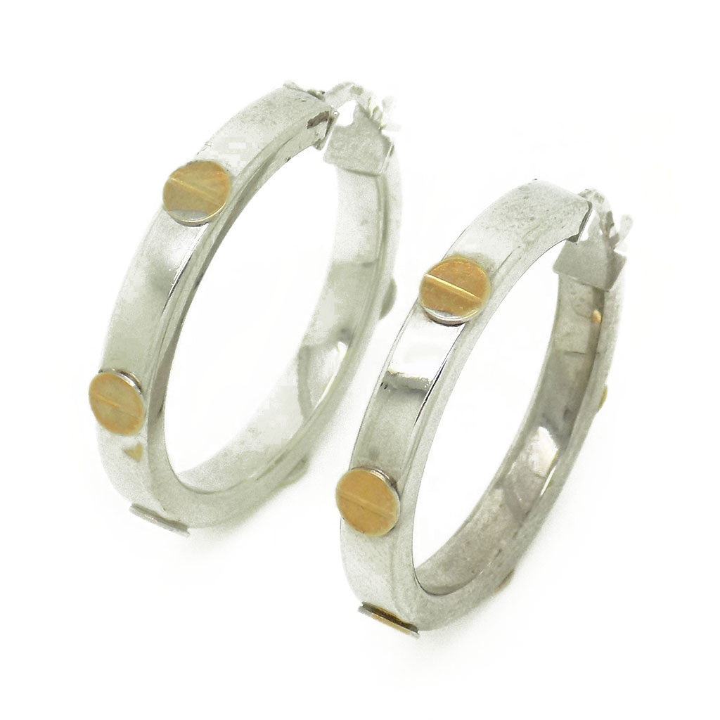 9ct White Gold 26mm Hoop Earrings with Yellow Gold Screw Details