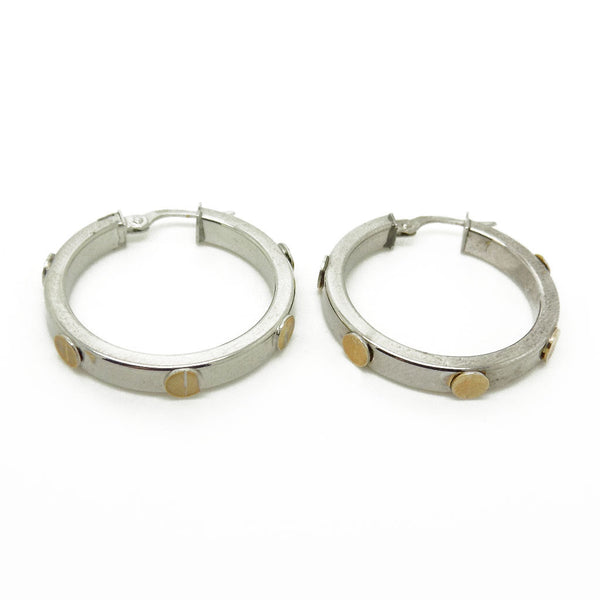 9ct White Gold 26mm Hoop Earrings with Yellow Gold Screw Details Fastening Details