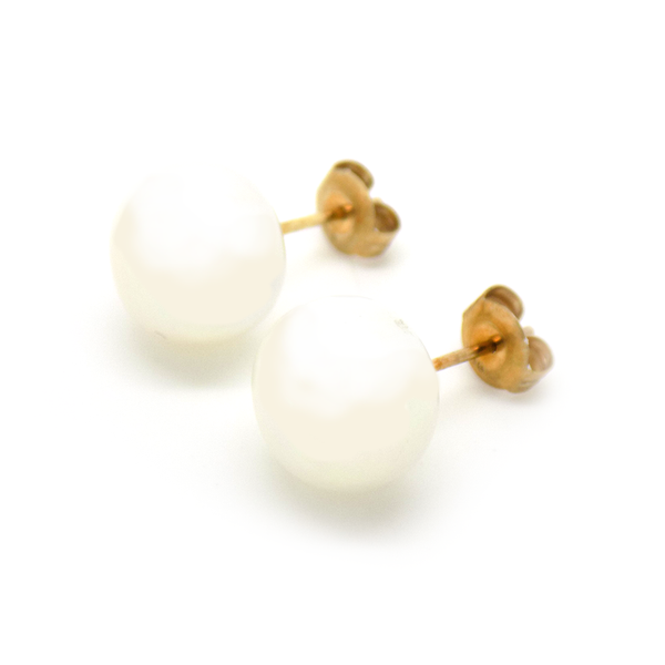 9ct Yellow Gold 11mm Button Shape Freshwater Pearl Stud Earrings