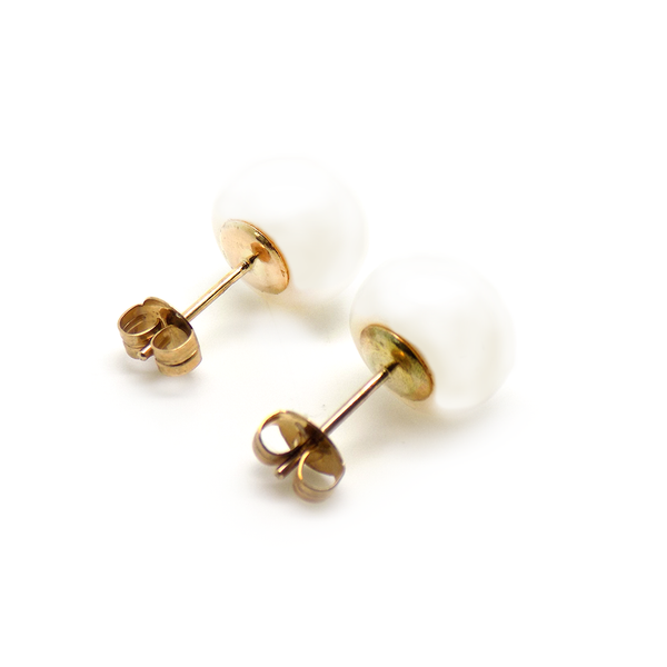 9ct Yellow Gold 11mm Button Shape Freshwater Pearl Stud Earrings Reverse