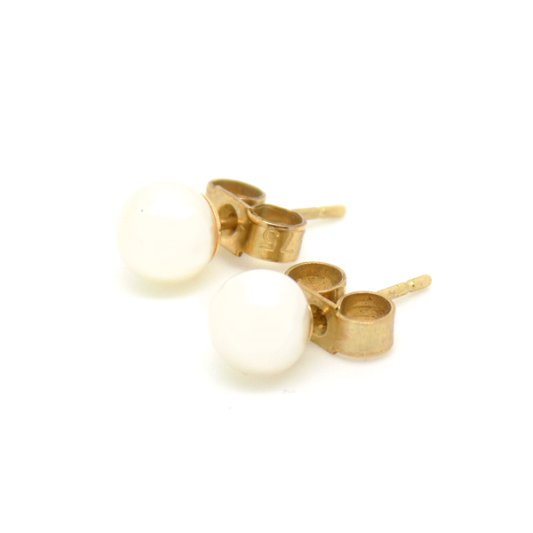 9ct Yellow Gold 5.5mm Cultured Pearl Stud Earrings