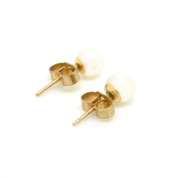 9ct Yellow Gold 5.5mm Cultured Pearl Stud Earrings Reverse