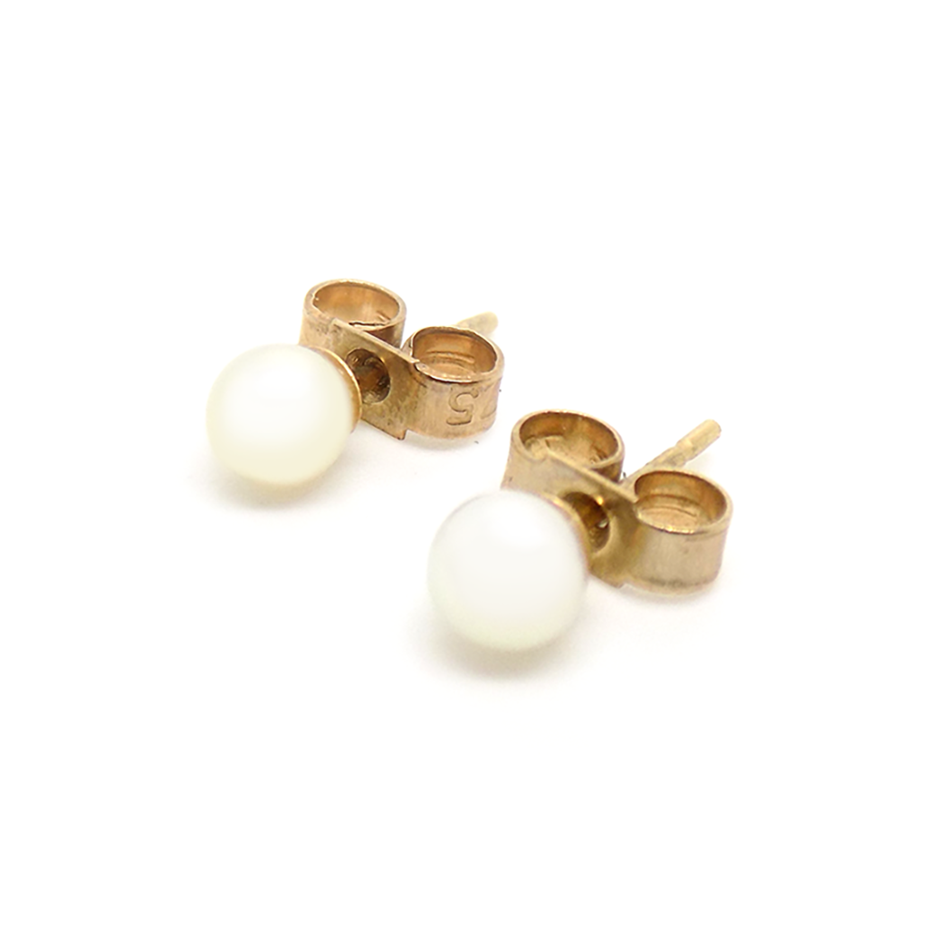 9ct Yellow Gold 4mm Cultured Pearl Earrings