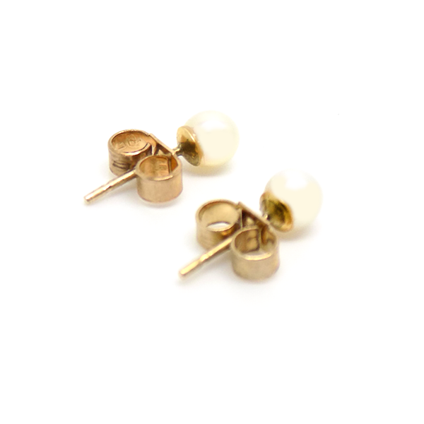 9ct Yellow Gold 4mm Cultured Pearl Earrings Reverse