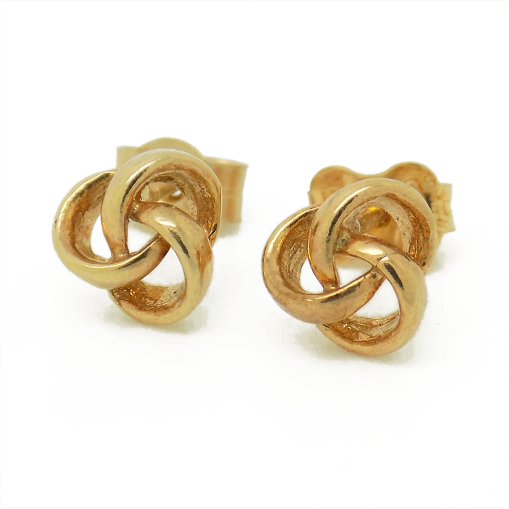 9ct Yellow Gold Three Wire Plain Knot Stud Earrings