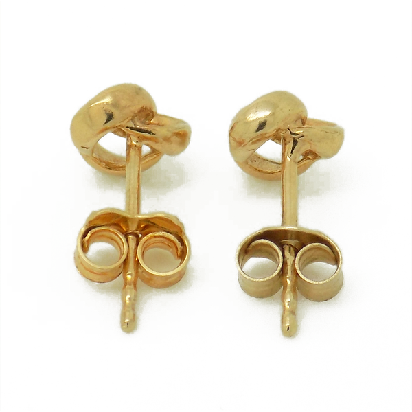 9ct Yellow Gold Three Wire Plain Knot Stud Earrings - Fastenings