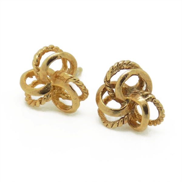 9ct Yellow Gold Three Double Patterned and Polished Knot Stud Earrings