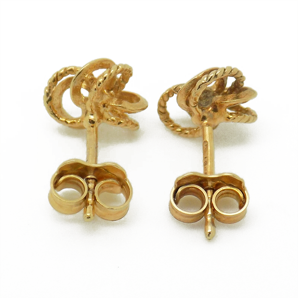 9ct Yellow Gold Three Double Patterned and Polished Knot Stud Earrings - Fastenings
