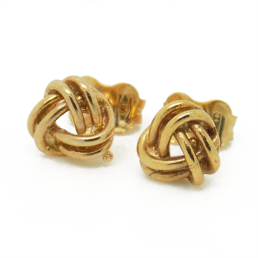 9ct Yellow Gold Three Double Wire Plain Knot Stud Earrings