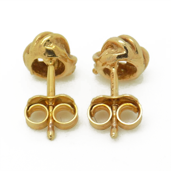 9ct Yellow Gold Three Double Wire Plain Knot Stud Earrings - Fastenings