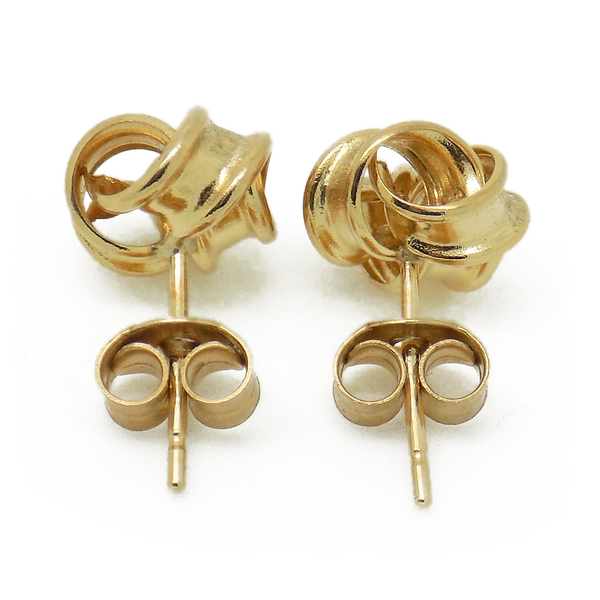 9ct Yellow Gold Frosted Triple Knot Stud Earrings - Fastenings