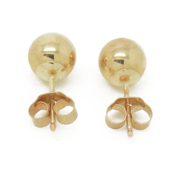 9ct Yellow Gold 6mm Ball Stud Earrings Reverse