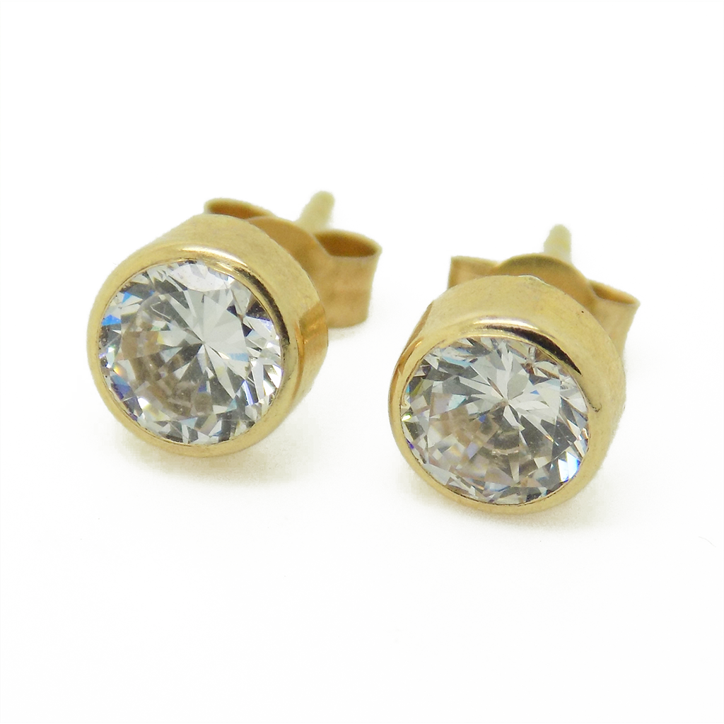 9ct Yellow Gold 5mm Rub Over Set CZ Stud Earrings