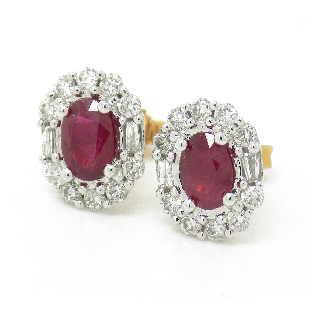 18ct Yellow Gold Ruby and Diamond Cluster Earrings