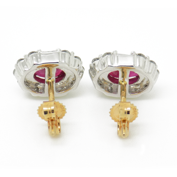18ct Yellow Gold Ruby and Diamond Cluster Earrings - Fastenings Detail