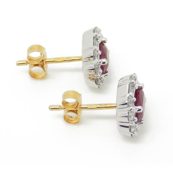 18ct Yellow Gold Ruby and Diamond Cluster Earrings - Side View
