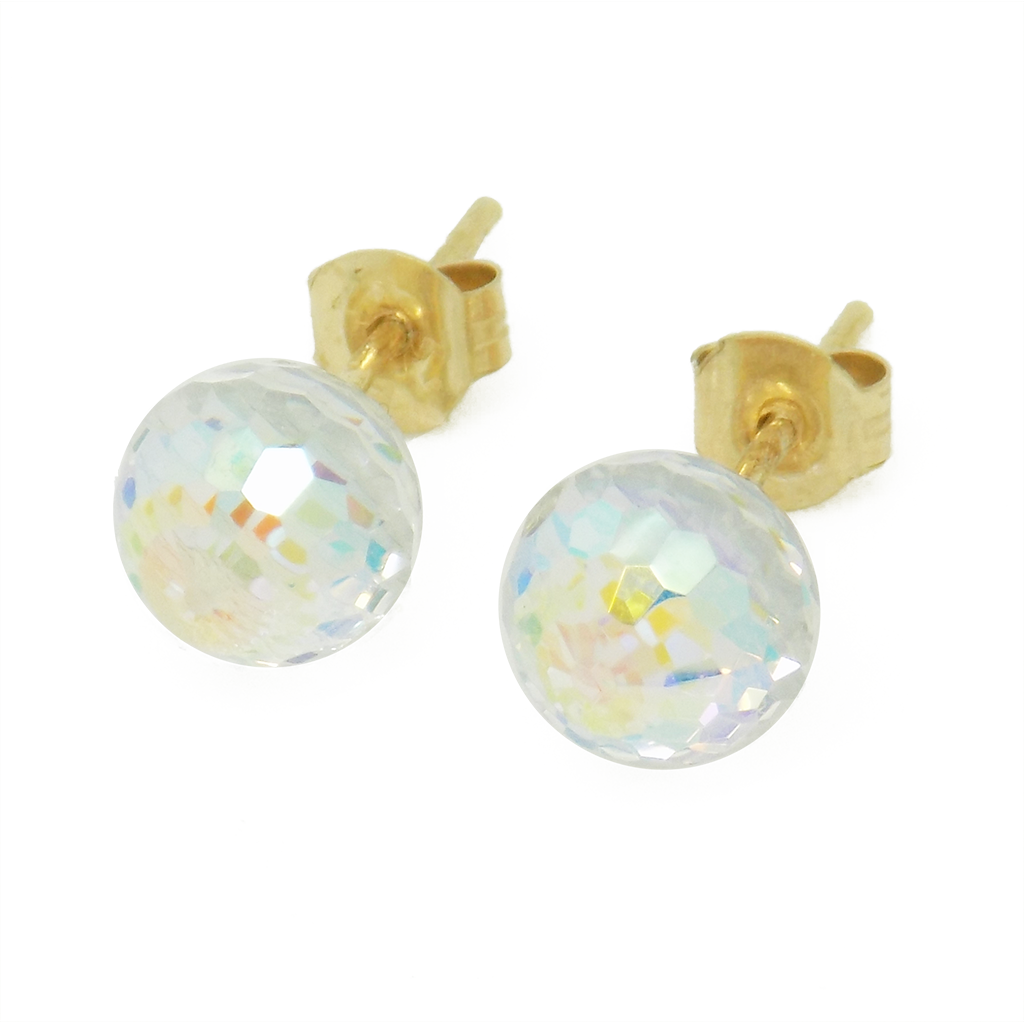 9ct Yellow Gold Austrian Crystal Ball Stud Earrings